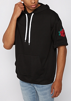 Black Red Rose Short Sleeve Hoodie