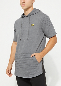 Gray Moto Short Sleeve Hoodie By Caliber