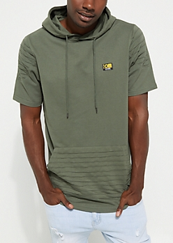 Olive Moto Short Sleeve Hoodie By Caliber