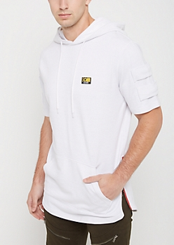 White Zip Side Short Sleeve Hoodie By Caliber