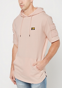 PInk Zip Side Short Sleeve Hoodie By Caliber