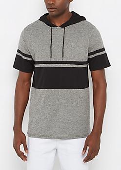 Marled & Striped Short Sleeve Hoodie