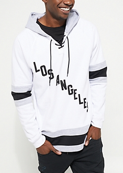 White Los Angeles Contrast Striped Hockey Hoodie