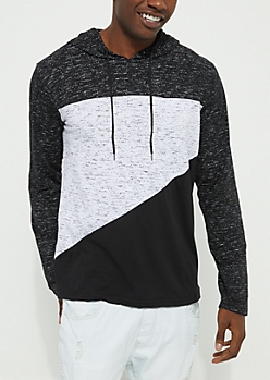 Black Marled Lightweight Color Block Hoodie