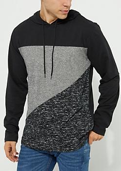 Black Lightweight Marled Color Block Hoodie