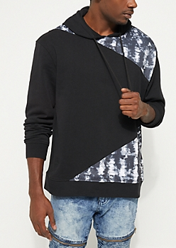 Black Tie Dye Patch Fleece Hoodie