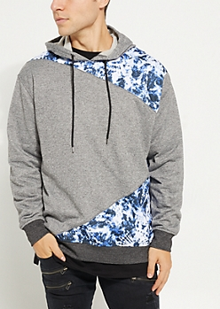 Black Marled Tie Dye Patch Fleece Hoodie