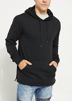 Black Washed Fleece Hoodie
