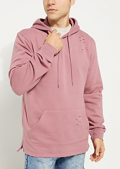 Dark Pink Washed Fleece Hoodie