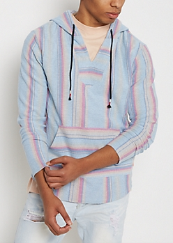 Light Blue Striped Baja Hoodie