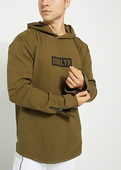 Olive Brooklyn Double Layer Thermal Hoodie