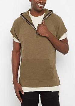Quarter-Zip Short Sleeve Hoodie
