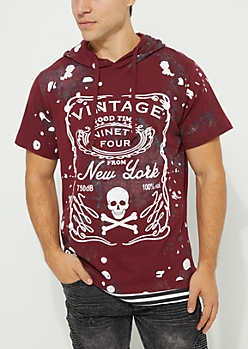 Burgundy Skull Paint Splattered Hooded Tee