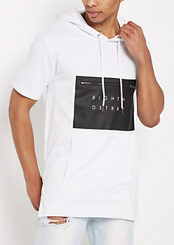 White Zip Pocket Short Sleeve Hoodie