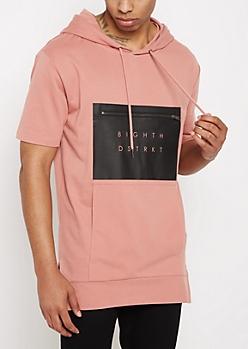 Pink Zip Pocket Short Sleeve Hoodie