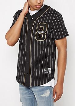 Black Pinstripe DSTRKT Baseball Jersey