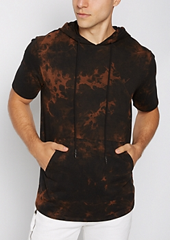 Brown Washed Short Sleeve Hoodie