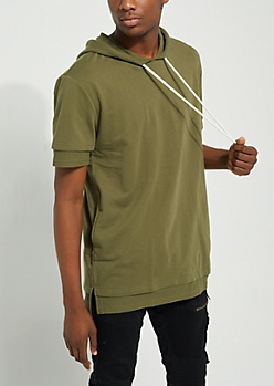 Olive Double-Layered Hooded Tee