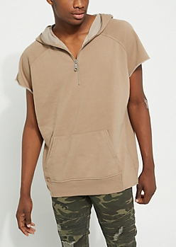 Brown Zipper Hood Tee