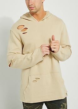 Sand Terry Knit Distressed Hoodie