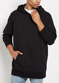 Black Terry Knit Seam Hoodie