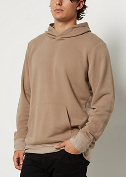 Brown Terry Knit Seam Hoodie