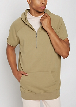Olive Raw Edge Short Sleeve Hoodie