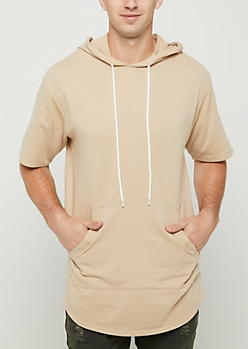 Sand Rounded Short Sleeve Hoodie