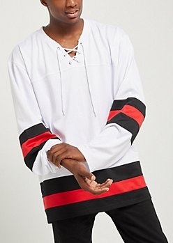 White Striped Lace Up Hockey Jersey