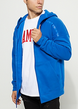 Royal Blue Rubber Striped Zip Down Hoodie