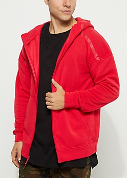 Red Rubber Striped Zip Down Hoodie
