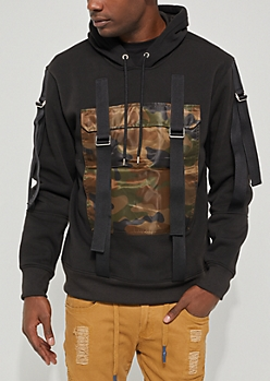 Camo Strapped Chest Pocket Hoodie