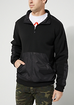 Black Mock Neck Pullover Jacket