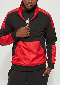 Red Color Block Mock Neck Pullover Jacket