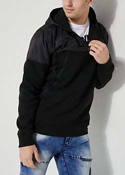 Black Mock Neck Hooded Pullover
