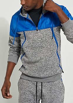 Blue Space Dye Mock Neck Hooded Pullover