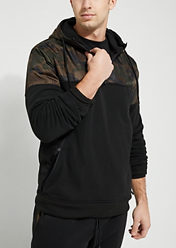 Camo Mock Neck Hooded Pullover