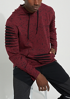 Burgundy Longer Length Distressed Hoodie