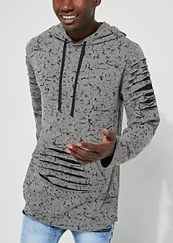 Gray Longer Length Distressed Hoodie