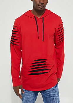 Red Longer Length Distressed Hoodie