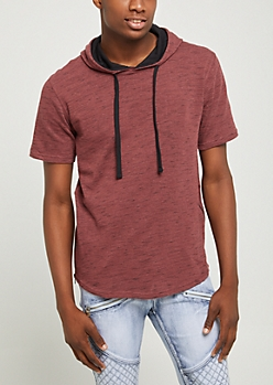 Burgundy Zipped Seam Long Length Hooded Tee