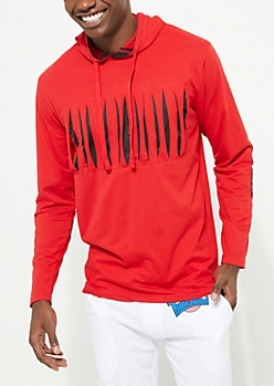 Red Slashed Chest Hooded Tee