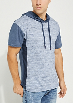 Navy Space Dye Mesh Paneled Hooded Tee