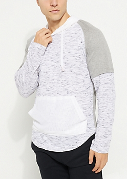 Gray Spacedye Mesh Contrast Hooded Tee
