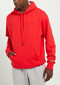 Red Champion Logo Pullover Hoodie