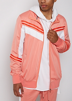 Salmon Striped Track Jacket