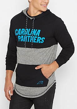 Carolina Panthers Color Block Long Length Hoodie