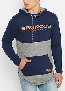 Denver Broncos Color Block Long Length Hoodie