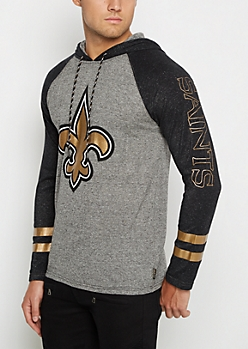 New Orleans Saints Textured Baseball Hoodie