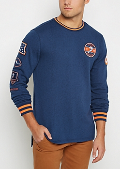 Denver Broncos Patchwork Long Length Sweatshirt